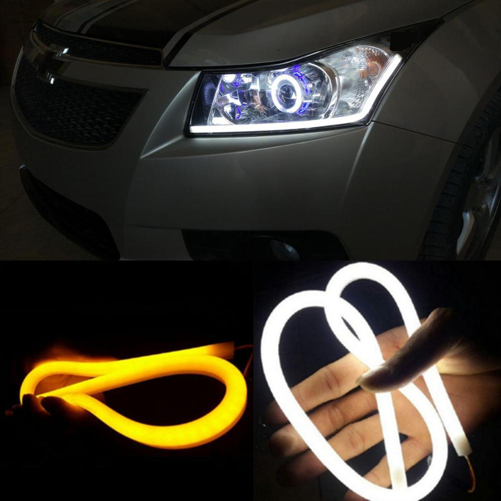 60cm DRL Flexible LED Tube Strip Style Daytime Running Lights Tear Strip  Car Headlight Turn Signal Light Parking Lamps Lights For Running Motorcycle  Day ...