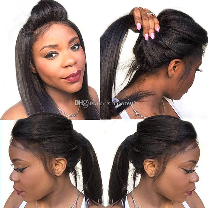 Hot sale Glueless Full lace wigs for black women unprocessed lace front wig instock silky straight middle free part Lace wigs