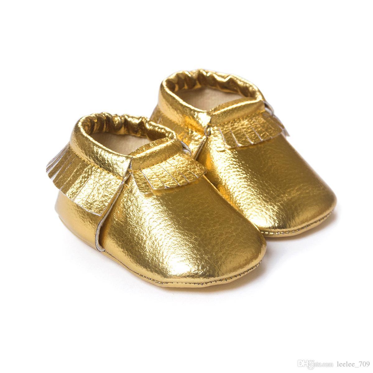51 Renk Bebek moccasins yumuşak taban PU deri ilk yürüteç ayakkabı bebek yenidoğan ayakkabı Püsküller maccasions toddler ayakkabı