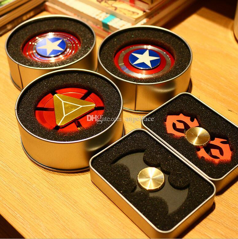 Creative Captain America Shield Hand Spinner Iron Man Fidget Alloy Puzzle Toys Edc Autism Adhd Finger Gyro Toy Adult Gifts With Retail Box