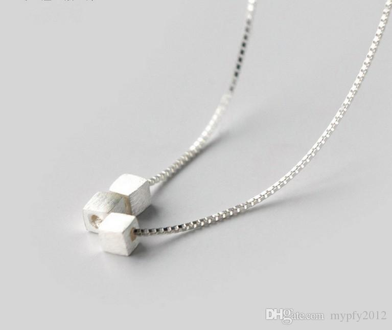 925 sterling silver halsband 3 stycken fyrkantiga silver halsband smycken krage choker halsband för kvinnor gåvor al
