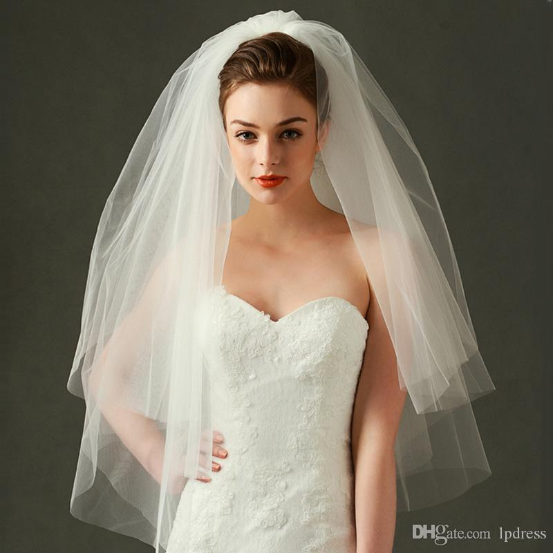 2017 Ivory Bridal Veils Soft Tulle With Comb Wedding Short Fancy Accessories Cheap Lace Trimmed Veil Long For From Lpdress