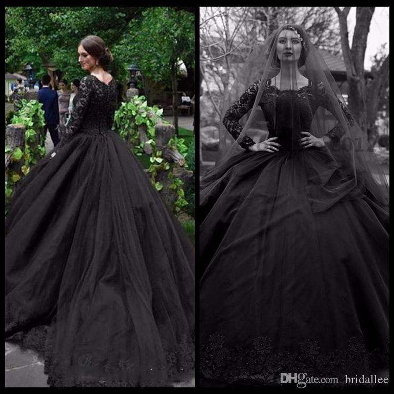 Popular Plus Size Gothic Wedding Gowns Buy Cheap Plus Size: Discount Gothic 2017 New Black Long Sleeve Wedding Dresses