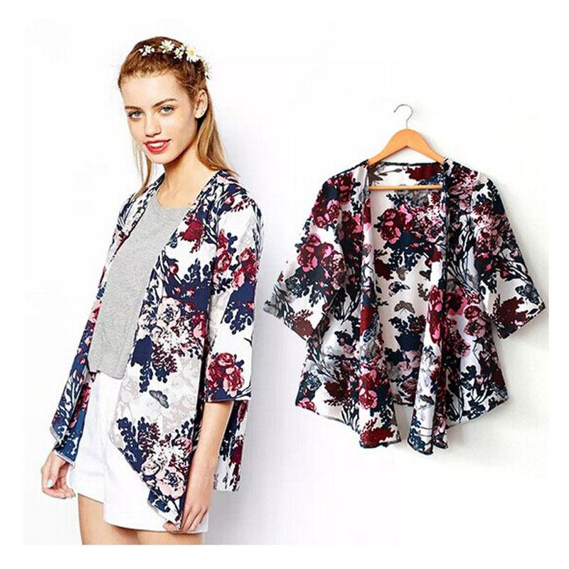 875778becedc4 2019 2016 Summer Print Women Kimono Cardigan Knitted Chiffon Blouse Shirt  Female Long Casual Chiffon Cardigans Kimonos Plus Size 6 14 From Here_well,  ...