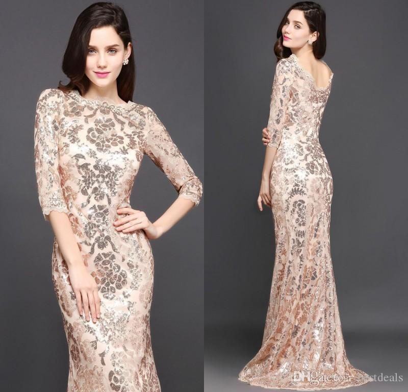 2018 Special Design Rose Gold Designer Occasion Dresses Mermaid Long Sleeves Full Sequins Lace Evening Dress Luxury Prom Party Gowns CPS634