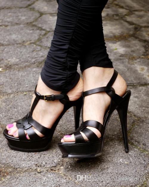 Neu Tribut Patent / Weichem Leder Plateau Sandalen Damen Schuhe T-Riemen High Heels Sandalen Lady Schuhe Pumps Original Leder
