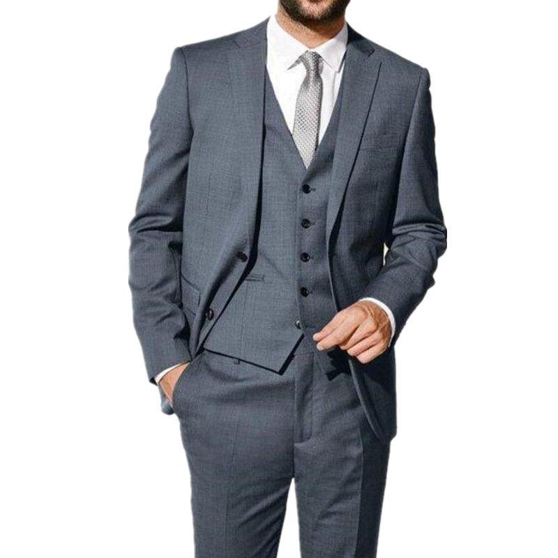Siyah Erkekler Düğün Suit smokin son coatand pantolon tasarım Resmi Elbise Iş Takım Elbise terzi Damat takımları Smokin ceket + pantolon + yelek