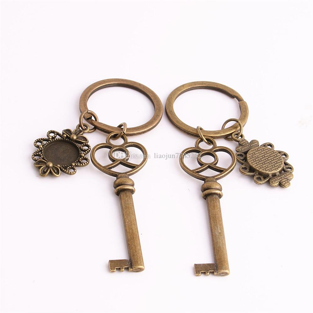 SWEET BELL Metal Alloy Zinc Key Chain Fit Round 12.5mm Cabochon Base Key Charm Pendant Jewelry Making C0899
