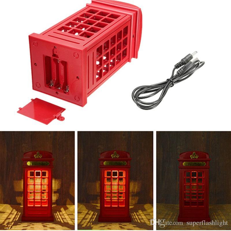 Retro Londra Telefon Booth Gece Işığı USB Pil Çift Kullanımlı LED Komidin Lambası Dokunmatik Sensör Paneli LEG_745