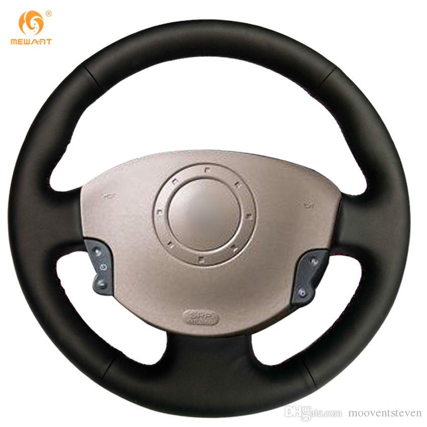 Populaire préféré Mewant Black Genuine Leather Car Steering Wheel Cover For Renault &GY_75