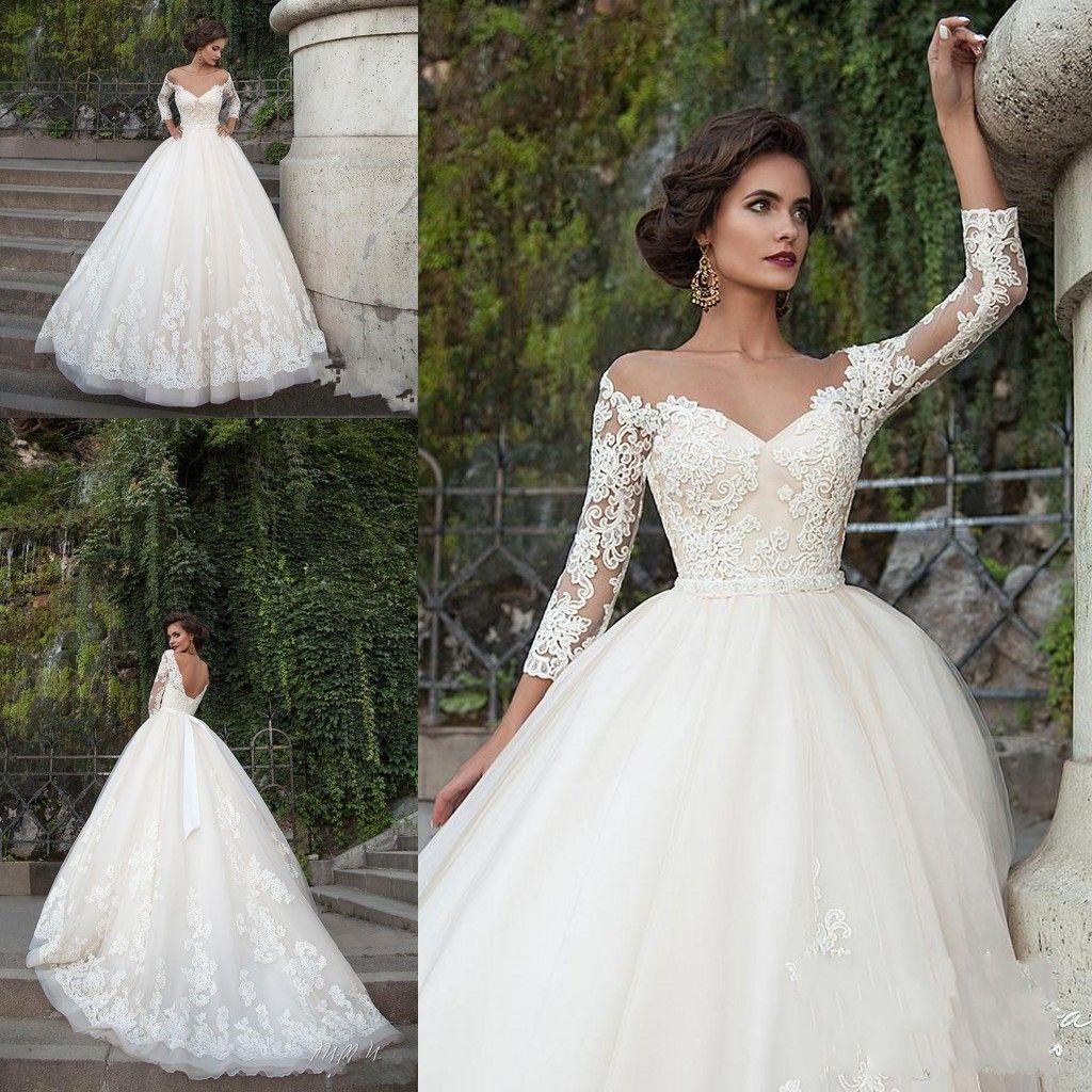 Milla Nova 2018 New Wedding Dresses A Line Illusion Neck Lace Appliques  Sashes Sweep Train Open Back Tulle Plus Size Formal Bridal Gowns Plus Size  Wedding ... cfaf97e406c6