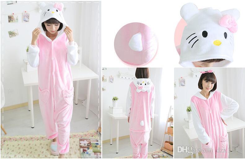 Pink cat onesie pajama for adult