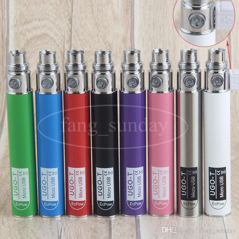 eGo Pass Though E Cigarette UGO T 650mah Vape Batteries 510 Thread Battery Micro USB Charging Design for CE4 CE5 MT3 H2 Tank