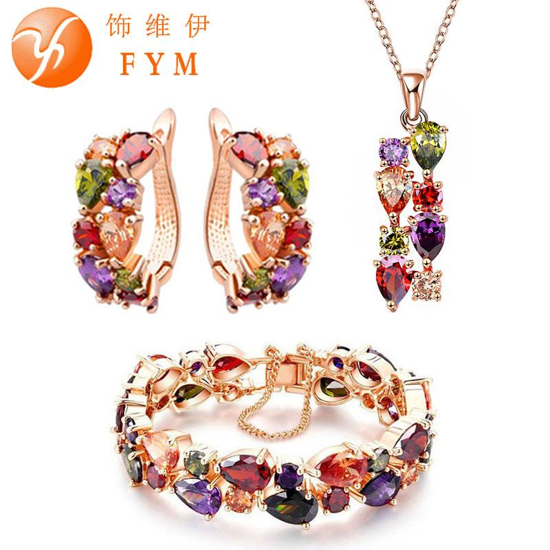 2018 Fym 2016 Mona Lisa Rose Gold Plated Jewelry Sets For Women