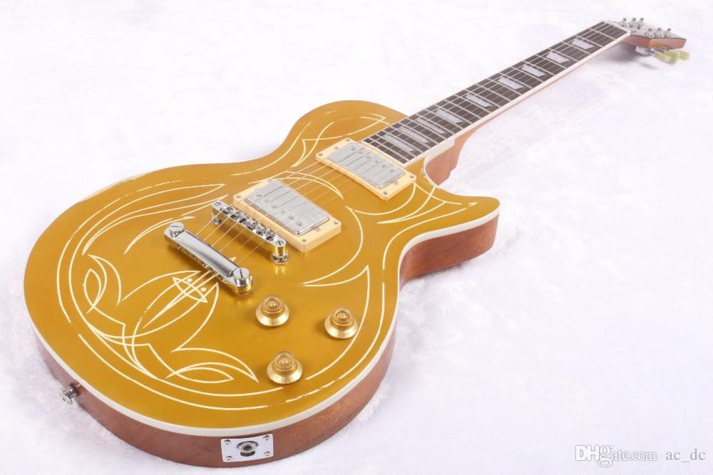 Custom Shop Billy Gib 1957 Pinstripe Goldtop Aged Gold Top Electric Guitar  Relic VOS Guitars Trapezoid Pearl Inlay Chrome Hardware