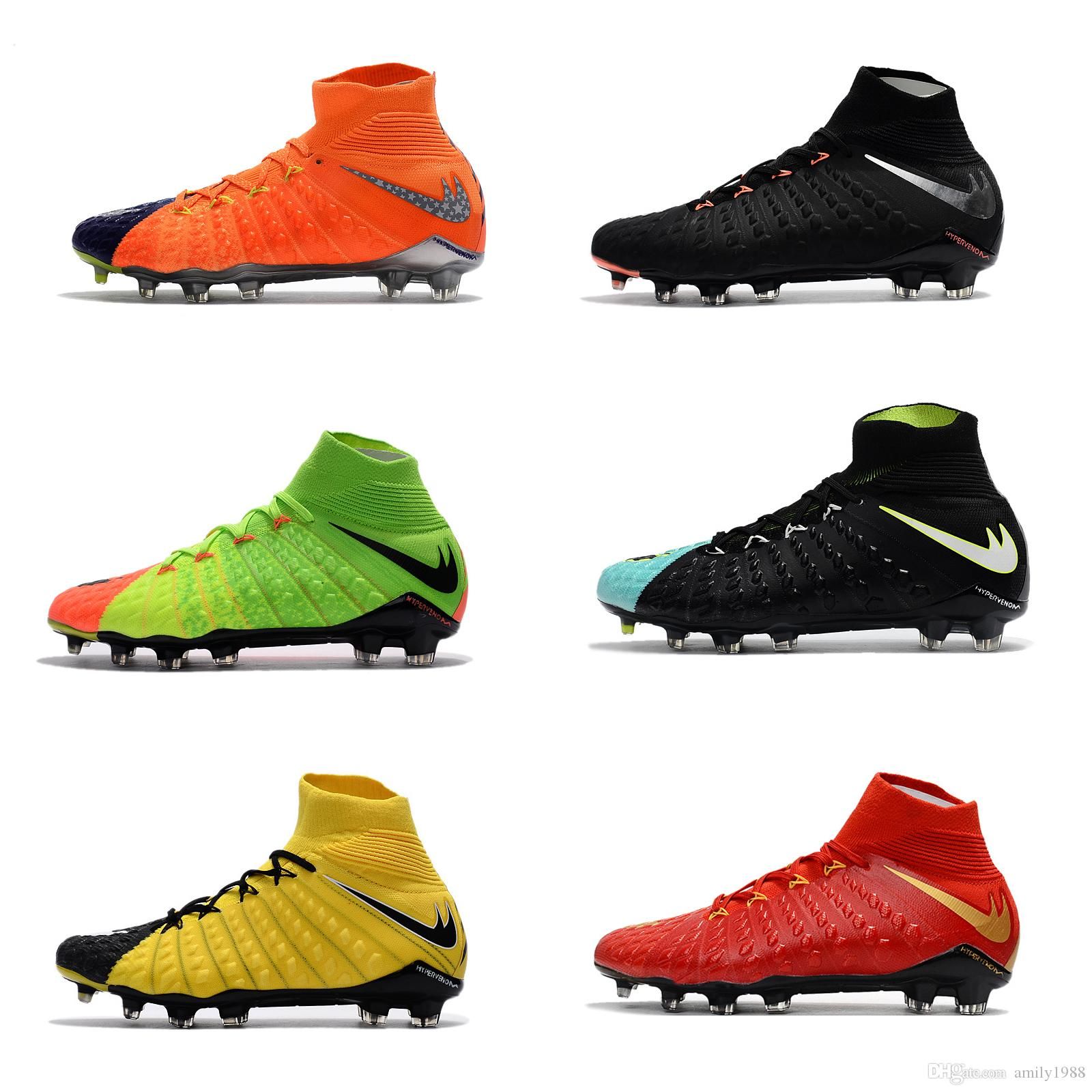 buy popular f1970 67424 2017 High Top Hypervenom Phantom III DF FG Men s Soccer Shoe boots Free  Shipping Cheap Mens Hypervenom 3 soccer cleats football shoes sale