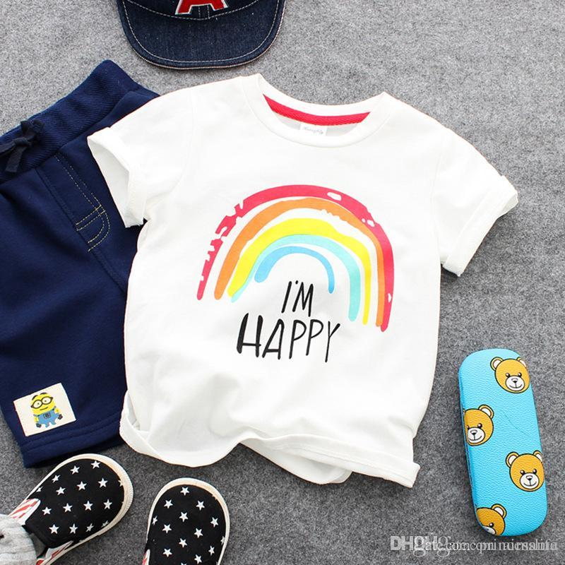 d8ac3fa00 2019 Summer Baby White T Shirt Boys Girls Rainbow Printing Clothing T Shirts  Half Sleeve Kids Clothing Baby Clothes From Princesslife, $13.73 |  DHgate.Com