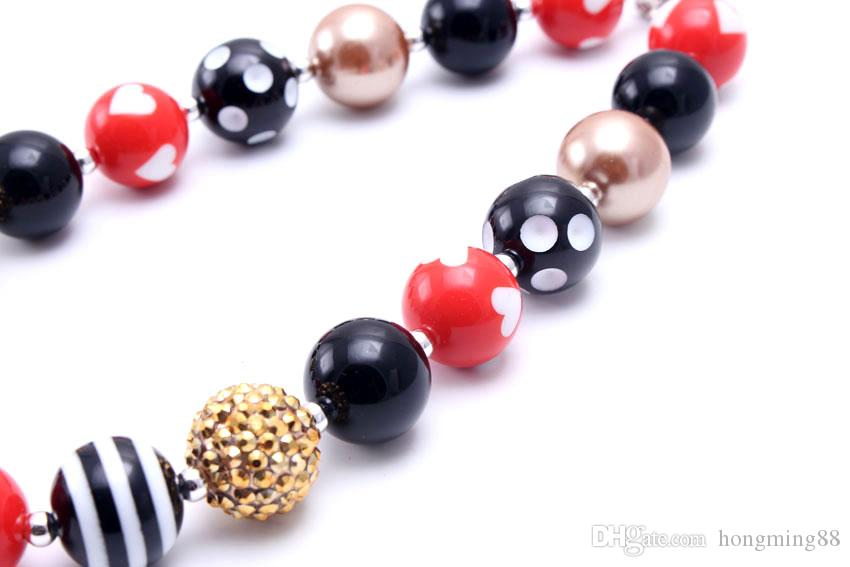 MHS.SUN Black+Red Color Design Beaded Bubblegum Baby Kids Chunky Necklace Birthday Party Gift For Toddlers Girls Necklace Jewelry