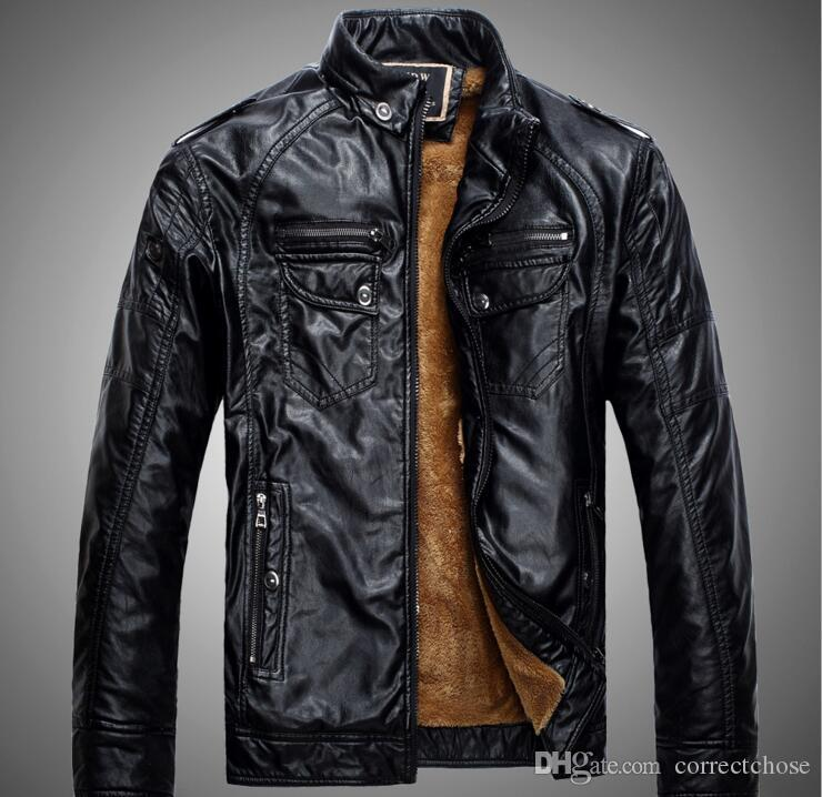 2018 Otantik Erkek Marka Motosiklet Deri Ceket Erkekler Jaqueta De Couro Masculina Erkek Deri Ceketler Zip Deri Mont