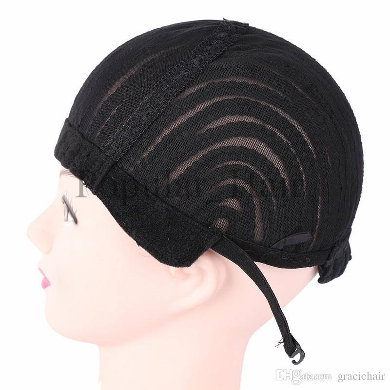 Black Crochet Synthetic Braids Wig Cap For Making Wigs With Small Combs Glueless Weaving Wig Lace Caps