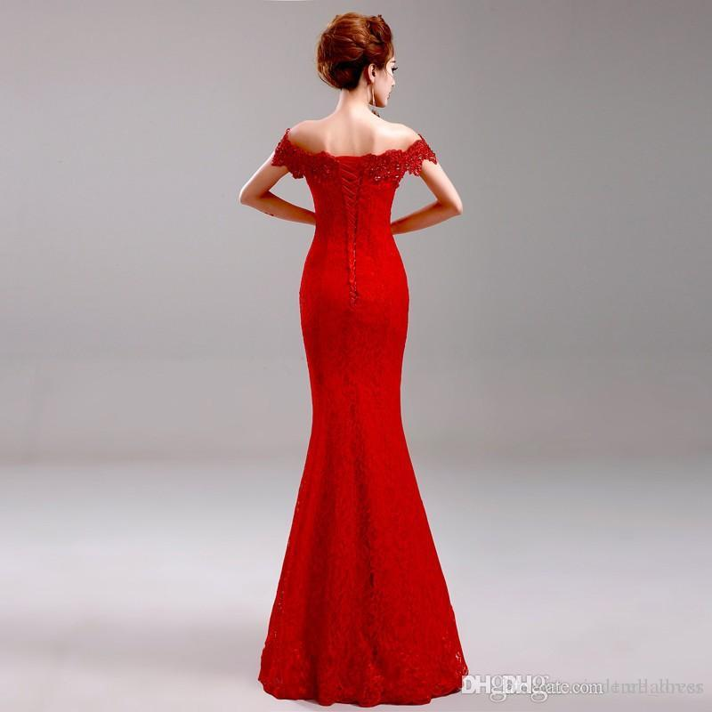 Cheap Red Elegant Long Evening Dresses Party Dresses Mermaid Off-Shoulder Boat-Neck Embroidery Lace Evening Dress Vestido