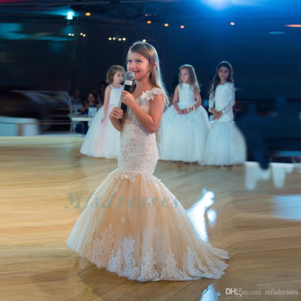 Vestido de fiesta de cumpleaños de princesa sirena niñas vestidos de encaje sin mangas Champagne flor de las muchachas vestidos de tul niños con cuello en v niños fiesta de cumpleaños