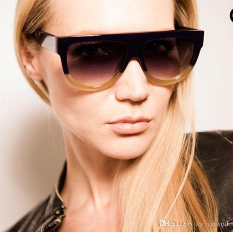 2be2d6ca63 Compre Gafas De Sol Moda Mujeres Flat Top Oversize Escudo Forma Gafas  Vintage Sun Gafas UV400 Mujer Remache Tonos A $1.82 Del Zw_network    DHgate.Com