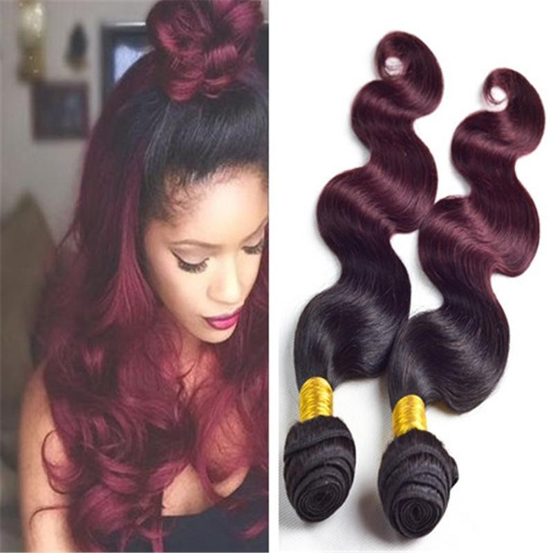 Wine Red Ombre Hair Weave Weft 8a Two Tone 1b 99j Burgundy Ombre