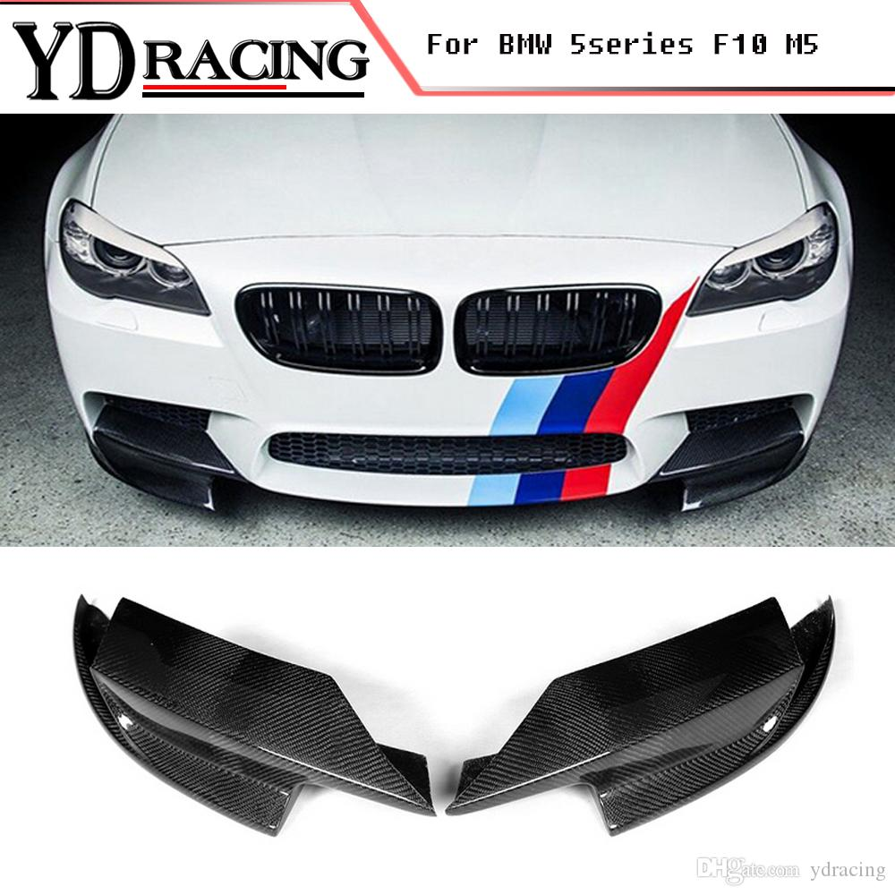 For Bmw 5 Series 528i F10 M5 Bumper Only 2011 2017 Carbon Fiber Auto Front Splitter Lip Flap Cupwings Side Aprons