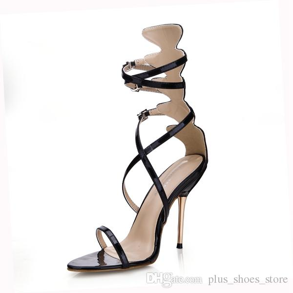 Black Real Image Women Sandals 2017 Party Shoes Buckle Strap Metal Thin Heels Plus Size Zapatos Mujer Sapato Feminino Zapatos Mujer