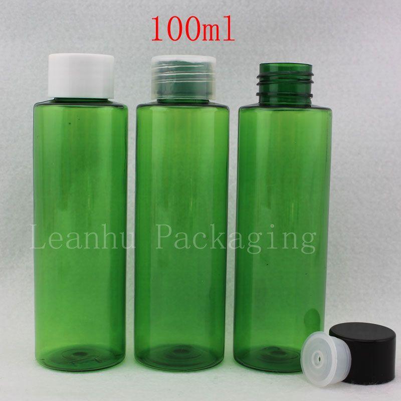 eda386bc6f50 100ml emerald green empty cosmetic lotion cream plastic bottles 3.4 oz  screw-on cap bottle for cosmetics ,DIY liquid container