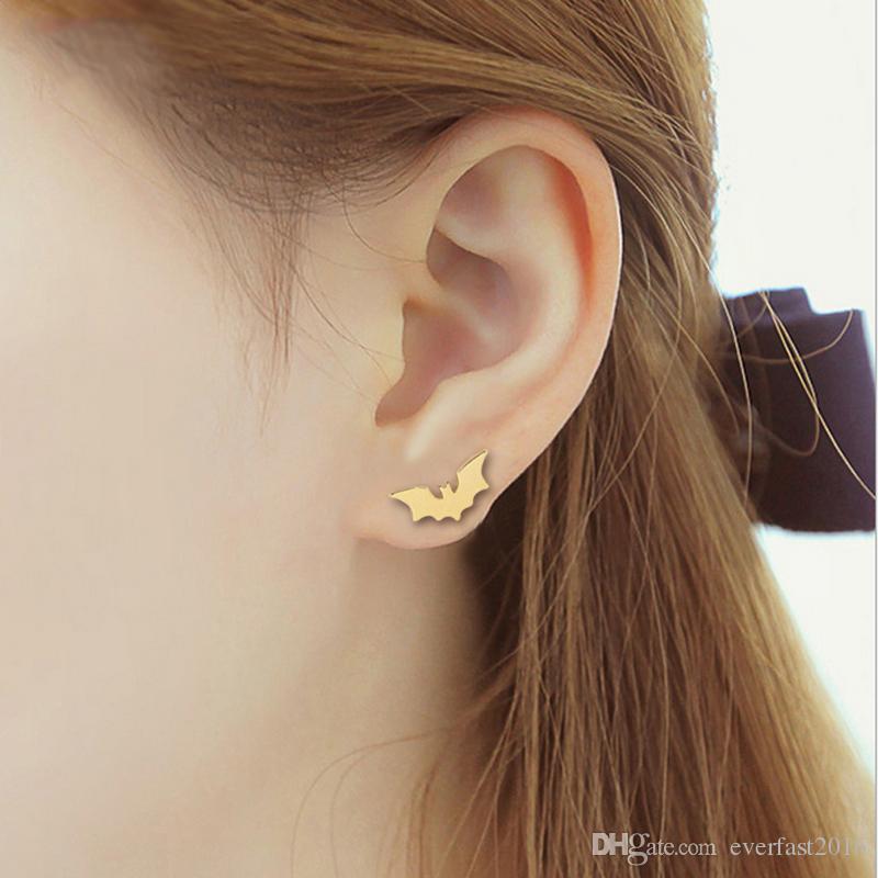 New Spread Wing Bat Earring Copper Material Cute Batman Fashion Studs Earrings Accessories Jewelry For Kids Grils Women EFE068