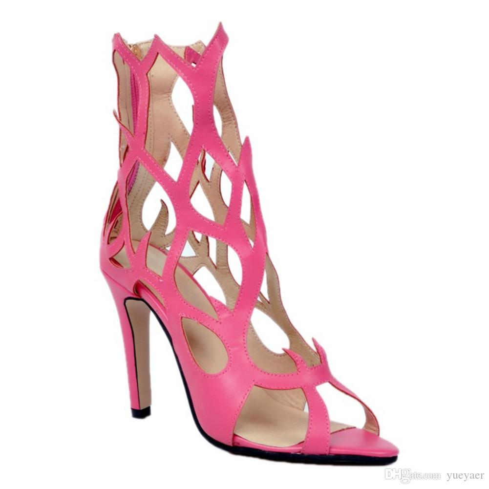 Zandina Womens Fashion Handmade 10 cm Aberto Toe Zipper Sexy Salto Alto Sandálias de Verão Partido Prom Sapatos de Escritório