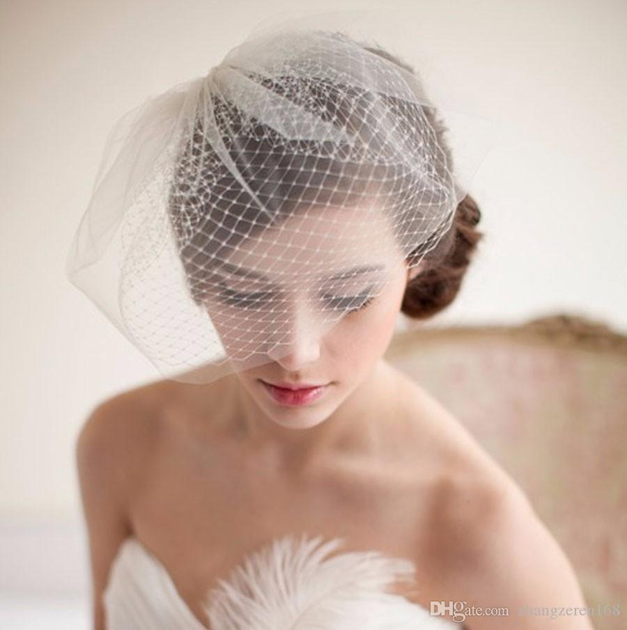 New Arrival Beautiful Bride Accessories Bridal Headdress White Bridal Tulle Fascinat Bride Wedding Hats Face Veils