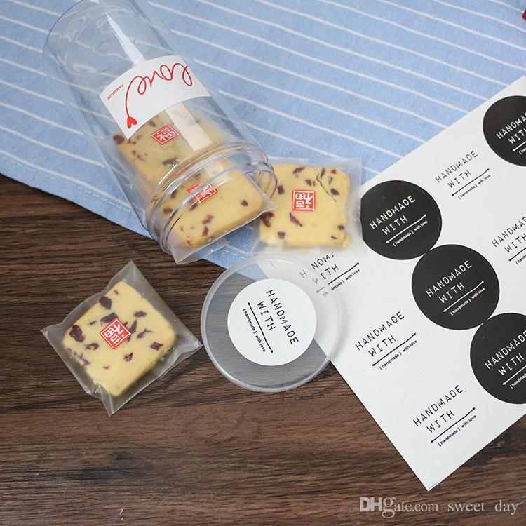 In bianco e nero FATTO A MANO CON AMORE adesivo rotondo forno pacchetto sigillo etichette regalo imballaggio adesivi decorativi