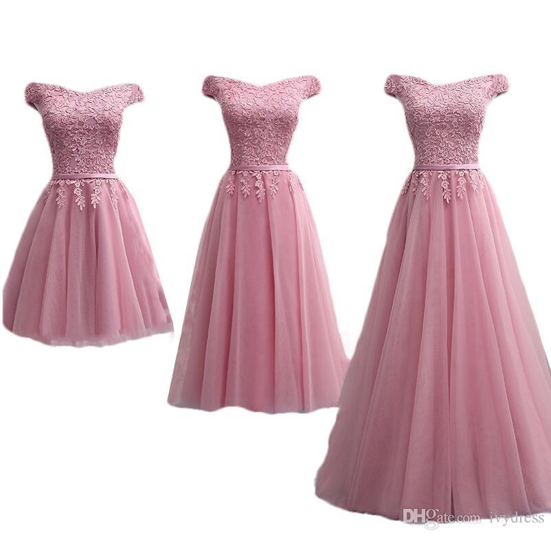 Compre Dusty Pink Dama De Honor Vestidos De Piso Longitud Sexy Barco ...