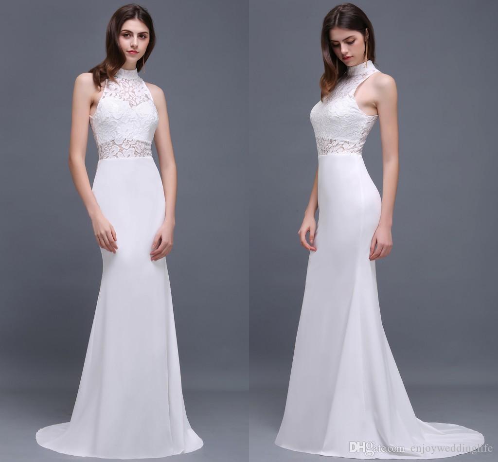 Elegant White Lace Mermaid Prom Dresses 2017 New High Neck Lace ...