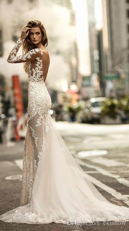 2017 neue Langarm Applique Meerjungfrau Brautkleider Illusion Jewel Ausschnitt Fit Und Flare Stark Verziert Sweep Zug Kleider