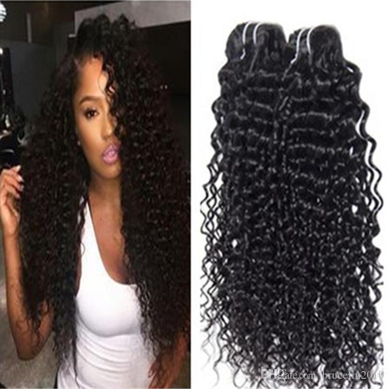Wholesale Mix Length Natural Color Unprocessed Bundles Deep Curl