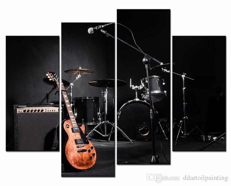Wholesale 4 Panels Unframed Modern music tools HD Picture for Home Wall Decor Canvas Print Christmas gift for family