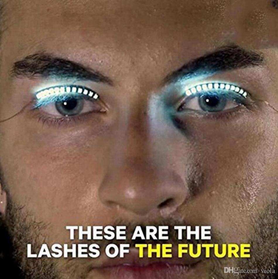 LED Flashing Eyelid False Eyelashes Eye Beauty Cosmetic Makeup LED Lashes False Eyelash For Party Players