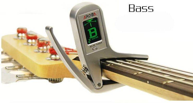 무료 배송 전기 어쿠스틱 기타 카포 튜너 튜닝 퀵 체인지 클립 온 2-in-1 디자인 for Guitar Bass Chromatic