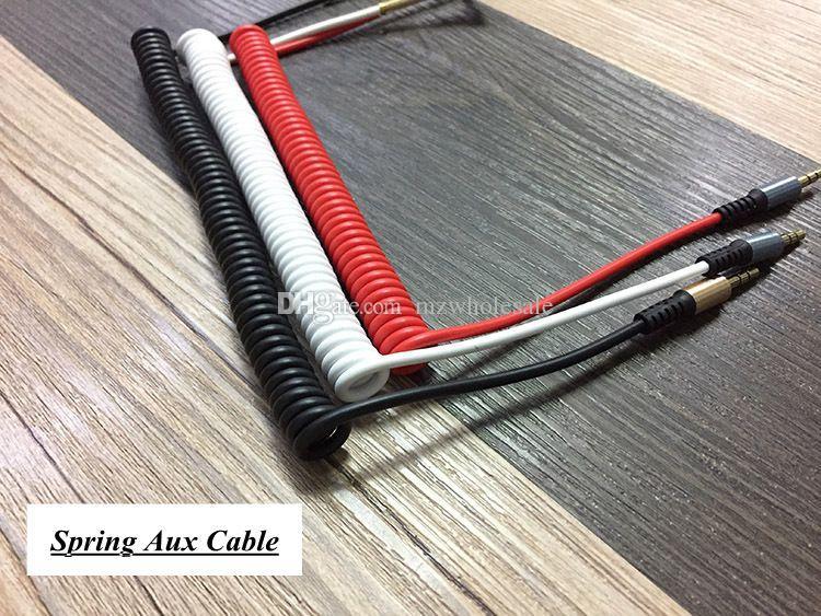 1.5m 오디오 케이블 3.5mm 잭 남성 남성 플러그 - 스테레오 오디오 AUX 케이블 - 금속 스프링 - 스마트 폰 신제품