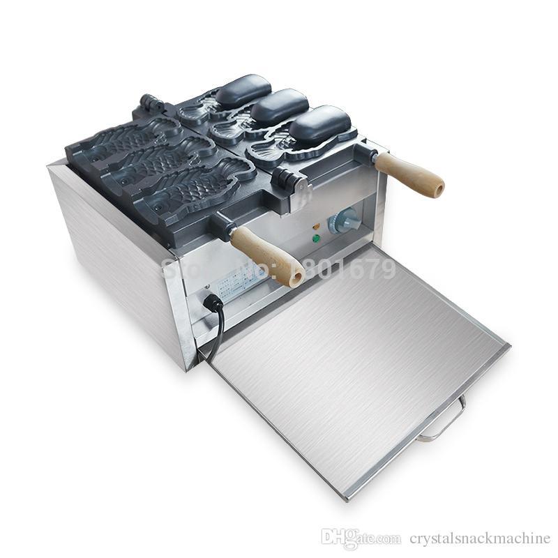 Popüler 3 Adet Elektrikli Balık Waffle Makinesi Açık Ağız Kore Balık Waffle Makinesi Taiyaki Makinesi Ticari Dondurma Balık Şekil Waffle Baker