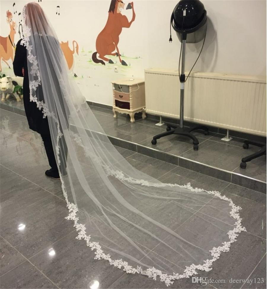 Branco véu do casamento 3m longo pente laço Mantilla Catedral Nupcial Veil Acessórios de casamento VEU DE NOIVA