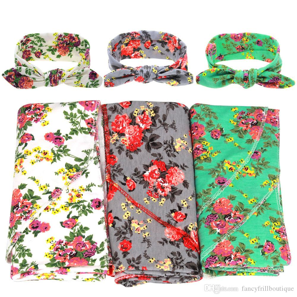 European Style Newborn Blanket Infant Baby Flower Swaddle Wrap Blanket Blanket Towelling With Baby Rabbit Ear Headbands Outfits