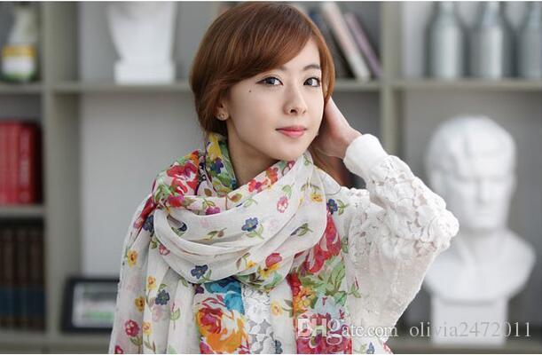 농촌 깨진 아름다운 꽃 긴 대형 스카프 shawls 실크 스카프 농촌 깨진 아름다운 스카프 여성을 위해