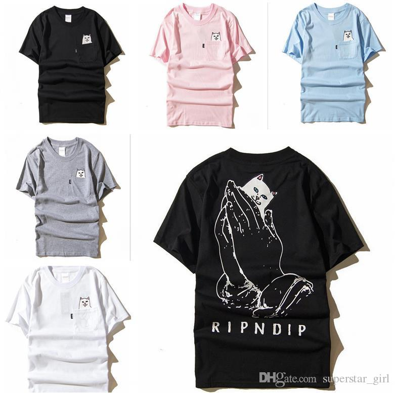 Ripndip Lord Nermal Pocket T Shirt For Men Women Funny Cat Graphic Printed  Tee Streetwear White Black Grey Short Sleeve Summer T Shirts C937 Tee  Shirts ... 6d5a1c992b