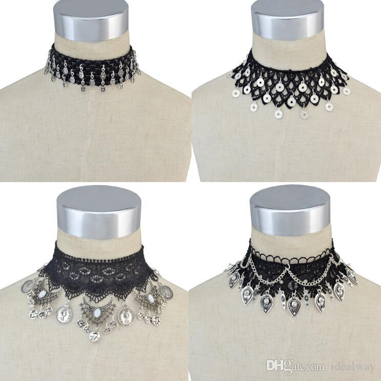 idealway Bohemian Gothic Style Black Lace Leather Wide Flower Chain Carved Metal Charms Choker Necklace Jewelry