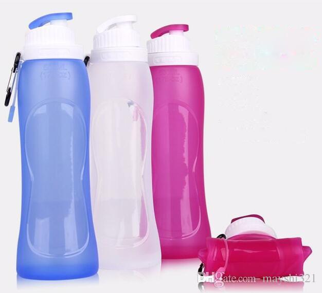 Спорт на открытом воздухе 500 мл 17 унций силиконовые складной бутылки воды гидратации передач портативный мешок воды для кемпинга пешие прогулки Велоспорт путешествия